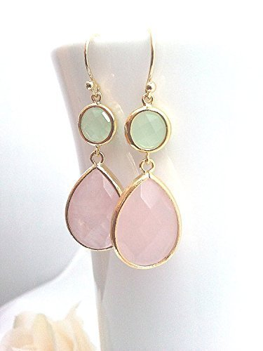 rose chalcedony earrings Rose Quartz Chalcedony earring Drop Dangle Bezel Earrings