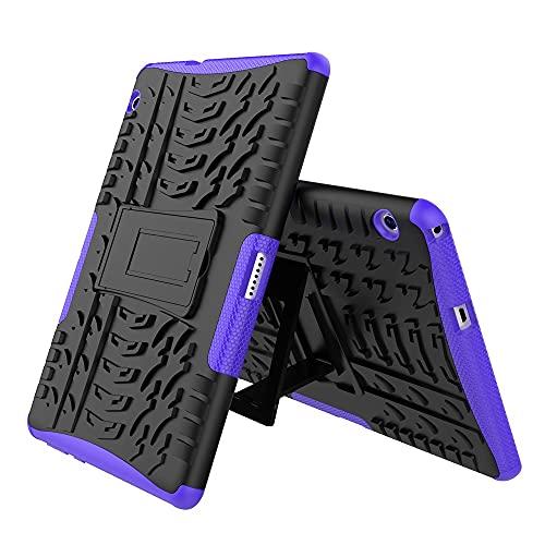 GUODONG Tablet PC Case Cubierta de la Tableta para Huawei MediaPad T3 10 Pulgadas Textura de neumáticos TPU + PC Funda Protectora con Soporte de Mango Plegable Tablet contraportada (Color : Purple)