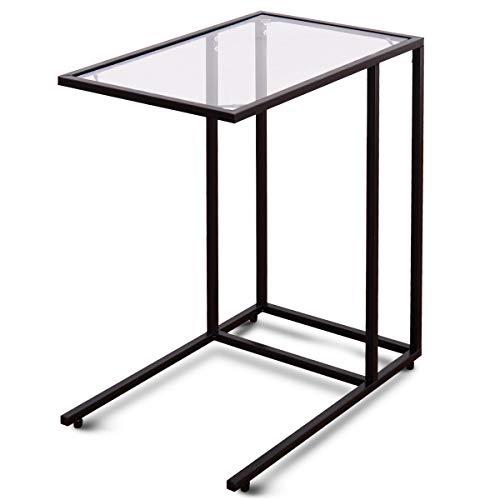 COSTWAY Beistelltisch Glas, Sofatisch Metall, Kaffeetisch eckig, Telefontisch Wohnzimmer, Glastisch Sicherheitsglas