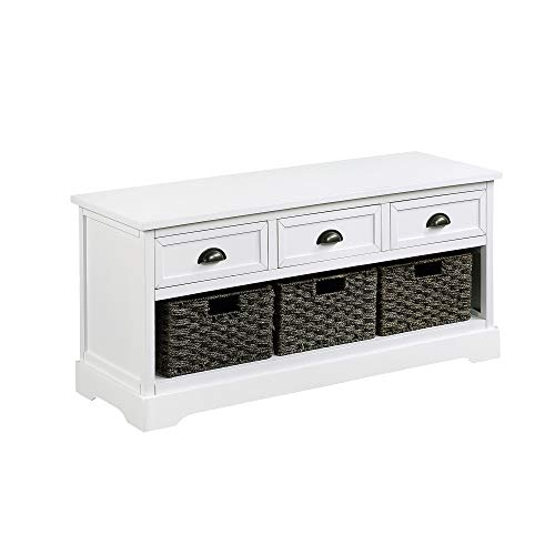 Knocbel Home Collection Wicker Storage Bench Solid Wood Cabinet Table with 3 Drawers and 3 Woven Baskets, 19.5