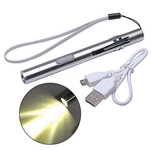 BANGNA Mini Linterna LED luz de Luna y Puerto de Carga USB, Linterna portátil de Largo Alcance, Linterna de Material de Acero Inoxidable