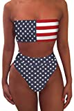 Pink Queen Women's Bandeau High Waisted American Flag Printed 2 Pieces Bikini M