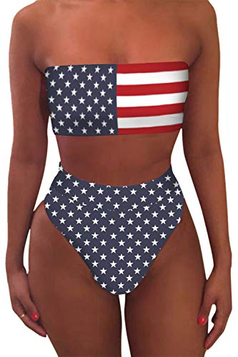 VamJump Women's Bandeau Padded High Cut Cheeky Bikini Set 4th of July Swimsuit XL
