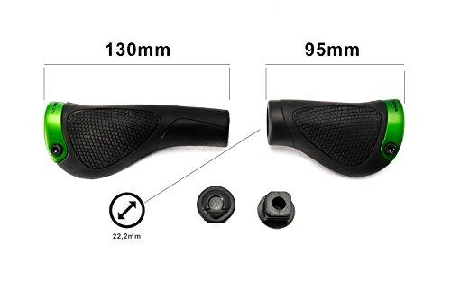 Ergon 1 Set Fahrrad Lenker Griffe Ergon GP1-S Small ergonomisch Schwarz grün für City Bike Nabenschaltung