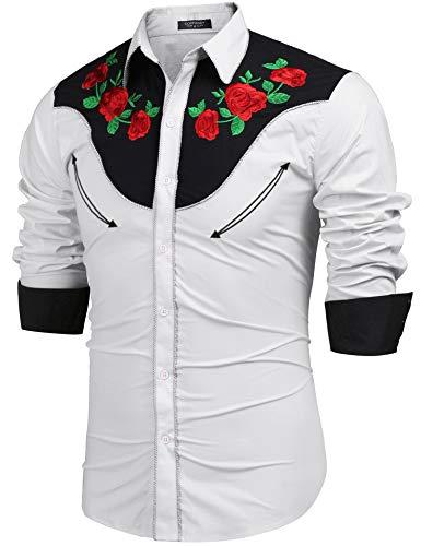COOFANDY Camiseta bordada de manga larga para hombre, diseño de rosas del oeste, con botones Blanco XL