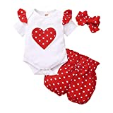 Ropa Bebé Niña Recién Nacido,Mameluco con Estampado de Letras de Manga Corta + Pantalones +Diadema 3 Piezas Conjuntos de Ropa para Bebés (F, 0-3 Meses)