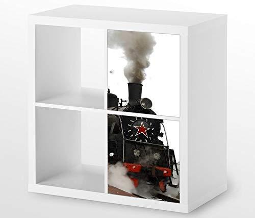 Möbelaufkleber für Ikea KALLAX / 2x Türelemente vertikal Zug Dampflok Kat13 Lokomotive Eisenbahn Aufkleber Möbelfolie Tür sticker (Ohne Möbel) 25G151, 2x Türelemente:2xTürelemente
