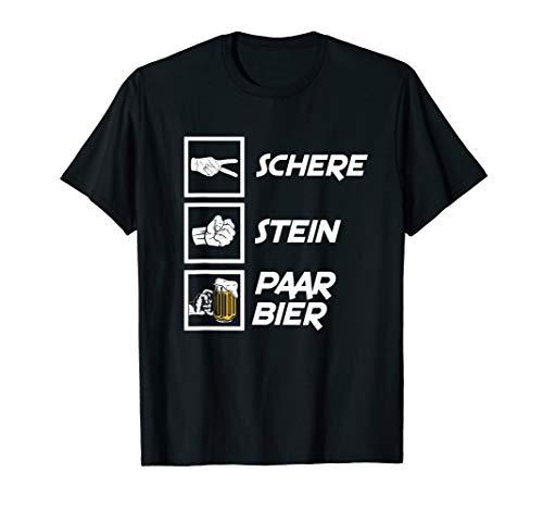 Herren Schere Stein Paar Bier Vatertag Geschenk Jungeselle T-Shirt