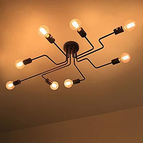 LIGHTESS Vintage Deckenleuchte e27 Deckenlampe Retro Industrie Deckenbeleuchtung für Küche Wohnzimmer Schlafzimmer Café Bar usw Schwarz (8-flamming)