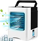 Portable Air Conditioner Fan, Personal Rechargeable USB Air Cooler, 3-In-1 Mini Air Purifier Humidifier with Portable Handle for Home Room Office