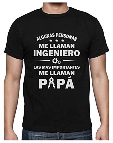 Camiseta para Hombre - Regalos para Ingenieros, Regalos para Hombre, Regalos para Padres. Camisetas Hombre Originales Divertidas - Algunos me Llaman Ingeniero los Más Importantes Papá - Large Negro