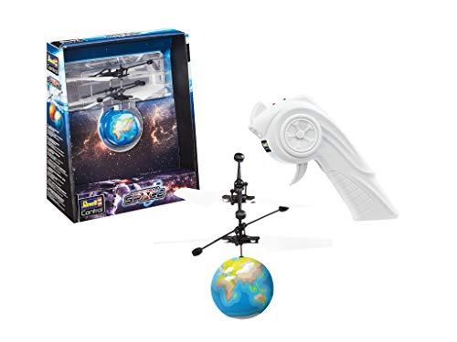 Revell Control 24976 RC CopterBall im Design der Erde, mit LED-Beleuchtung, Infrarot-Pistolenfernsteuerung, Akku, USB-Ladekabel Ferngesteuerter Fliegender Ball, Flyball, bunt