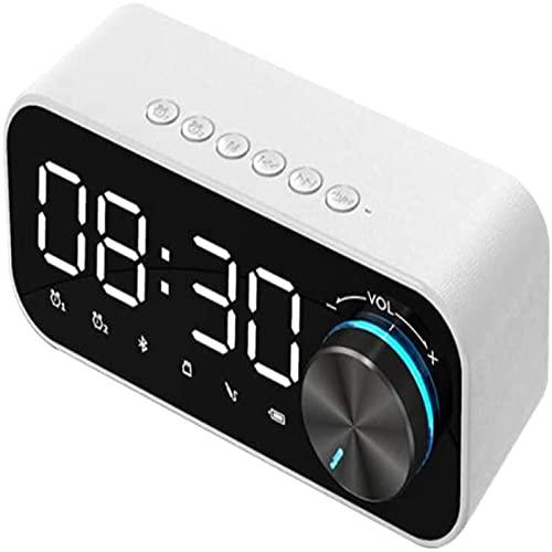 Altavoz Led con Reloj Despertador Bluetooth, Soporte USB, Tarjeta TF Y Radio FM, Recordatorio De Reloj Despertador Dual, DiseñO De Cable De Enchufe C Blanco