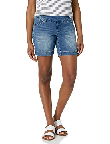 "Jag Jeans Women's Petite Ainsley 7"" Pull on Short, Horizon Blue, 4P"