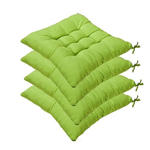 AGDLLYD Set da 4 Cuscino Sedia,Cuscini per Giardino, per Dentro e/o Fuori,40x40 cm,Disponibile in Tanti Colori Diversi,Cuscini per sedie da Giardino,Copri Sedia Cucina (Verde)