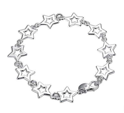 ENYU Bracciale da donna, gioielli amicizia ragazze braccialetto stella regolabile catena, placcato argento per adolescenziale 19 cm