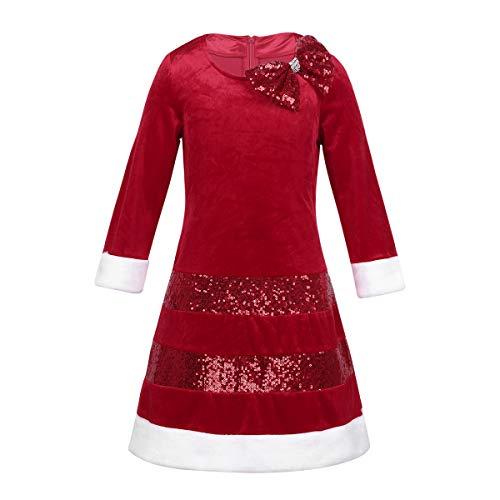 Freebily Vestido Fiesta Navidad Niña Disfraz Navideño Infántil Vestido Largo Invierno Terciopelo Bowknot Lentejualas para Niñas 2-8 Años Rojo 5 Años