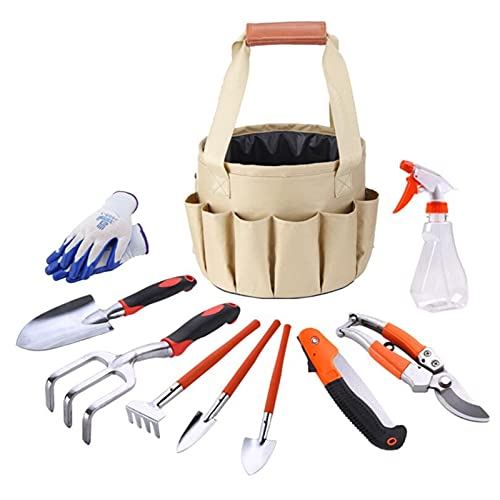 JUNMIN Gardening Tool Set, Hand Planting Kit, Hand Rake, Shovel, Pruning Saw, Pruning Knife, Spray Bottle, Gloves, Garden Gift Set Indoor Flower Tool