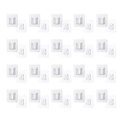 XGzhsa Ganchos adhesivos de pared, ganchos adhesivos de doble cara, 20 pares de ganchos colgantes transparentes sin perforar Ganchos adhesivos fuertes para estantes, marcos de fotos y decoraciones