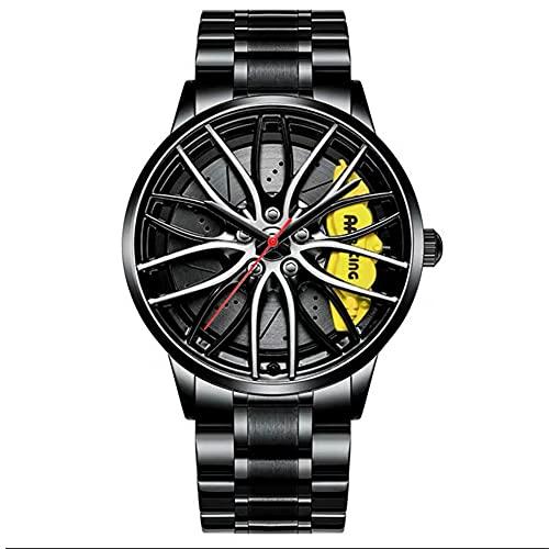 STST Los nuevos Relojes para Hombre, Resistente al Agua, Movimiento de Cuarzo japonés, Deportes acuáticos, Rueda, Cubo, Reloj Deportivo,Amarillo