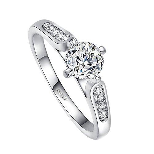 Yoursfs 18K Weißegold überzogene Zirkonia Kristall Promise Ring für Frauen Geschenk