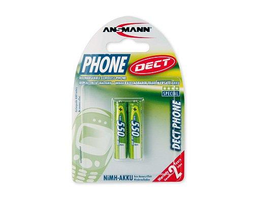 ANSMANN Akku AAA Micro 550 mAh 1,2V NiMH für Schnurlostelefon 2 Stück - Wiederaufladbare Batterien mit geringer Selbstentladung maxE - Akkus ideal für DECT Telefon schnurlos - Rechargeable Battery