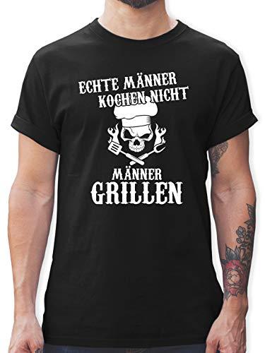 Küche & Grill - Echte Männer Kochen Nicht Männer Grillen - XL - Schwarz - Tshirt männer Kochen Nicht - L190 - Tshirt Herren und Männer T-Shirts