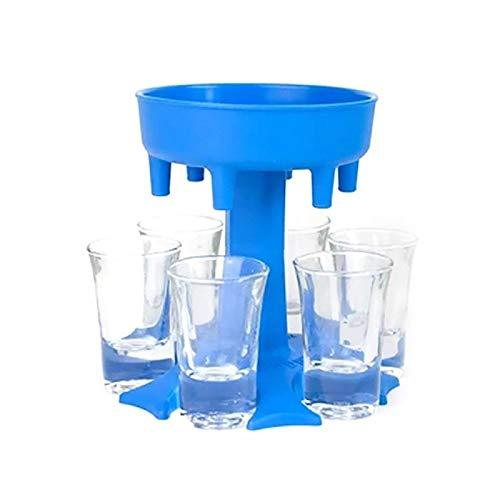 ZSViVi 6 Tiro de Cristal y vertedores Holder, múltiple Shot 6 Dispensador vertedores, Nueva Vertedor Conveniente for el llenado de líquidos, Cóctel y Bar Shots Dispenser (Color : Blue)