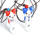 AOJIAOGUI Ceramic Puppy Pet Dog Whistle Flûte ultrasonique à Deux tons Stop Barking Sound Repeller Formation Chat Porte-clés Sifflets Pour chiens, Rouge ou bleu, 6cmx0.9cm