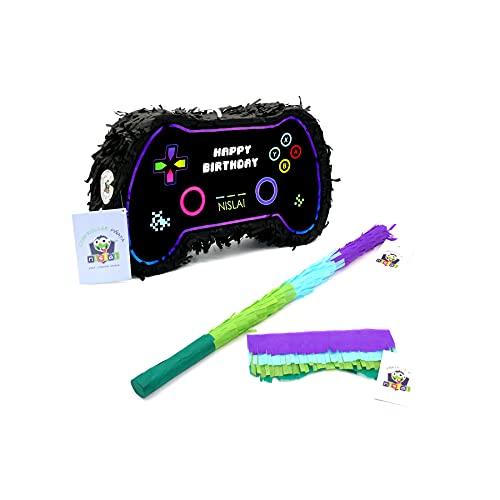 Nislai® Controller Gamer Pinata Set   Ideal als Pinata Geburstag für Jungen   die Gaming oder Videospiel Party Dekoration   Pinata Geschenk   inkl. Stock u. Maske   u. 43x25x10