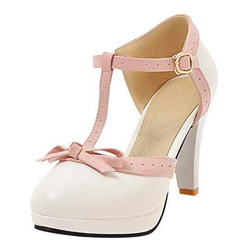 Damen T Steg Pumps High Heels mit Blockabsatz und Riemchen Plateau Vintage Retro Rockabilly Damen Schuhe(Weiss,39)