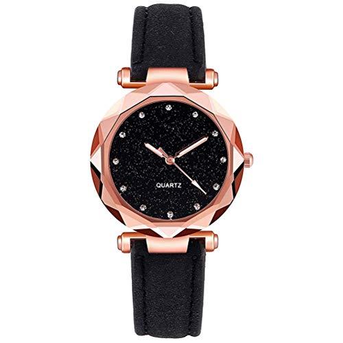 Relojes de Moda Casual para Mujer, Reloj de Cuarzo de Cuero Resistente al Agua, Reloj Retro analógico Casual para niñas Bonitas