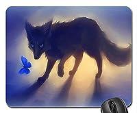 バタフライマウスパッド付きブラックフォックス、マウスパッド(犬用マウスパッド)