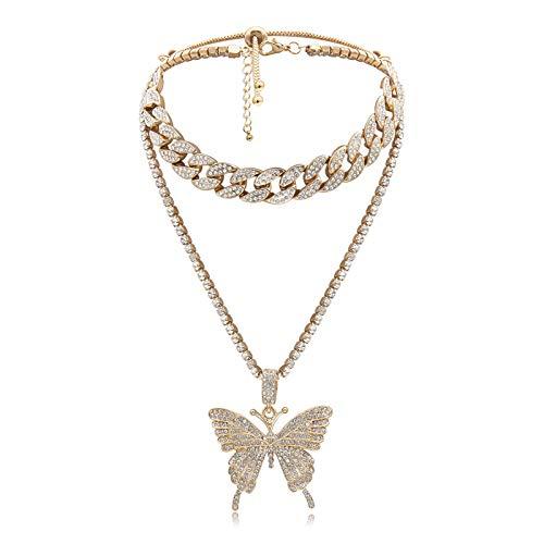 ZBOMR Großer Schmetterling Kuba Link Halskette Bling Bling Strass Schmetterling Anhänger Hip Hop Kristall Choker Halskette Für Damen Mädchen Modeschmuck (Gold)