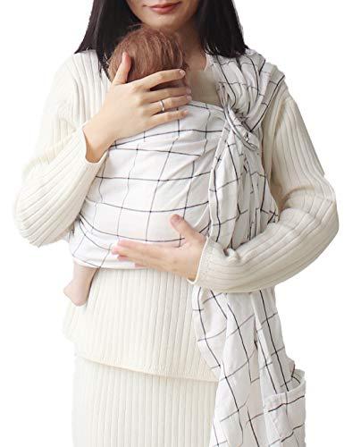 Vlokup Baby Sling Ring Sling Carrier Wrap - Extra Soft Lightweight Baby Slings for Infant, Toddler, Newborn and Kids - Great Shower Gift, Lightly Padded - Nursing Cover White Plaid