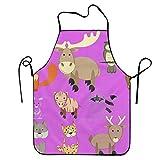 N\A Set di animali Della Foresta Grembiule da cucina impermeabile regolabile con cordino Resistente e facile da pulire Grembiule da cucina per Donna Uomo Chef