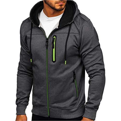 serliy😛Herren Mantel Sweatshirt, Kapuzenpullover Herren Simple Splice Cap Langarm Full Zip Pullover Tops Bluse Winter Hoodies Seitentasche Sweatshirt Shirt