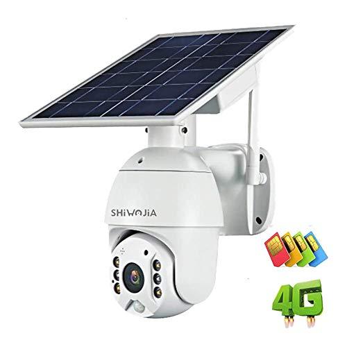Sécurité solaire sans fil 4G fente pour carte SIM caméra SHIWOJIA PTZ de sécurité Zoom numérique 4X Caméra IP extérieure 1080P Caméra CCTV avec alarme de capteur de mouvement PIR, audio bidirectionnel