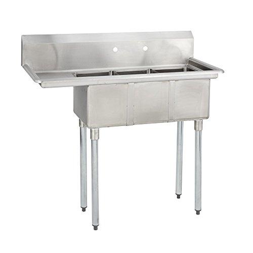 Fenix Sol 18G-3C10X14-L12 Three Compartment Stainless Steel Sink