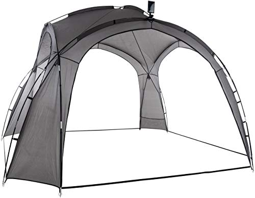 CLP Partyzelt 3,5 x 3,5 m mit LED I Garten Pavillon Inkl. Solarmodul I Gartenzelt wasserabweisend I Campingzelt mit Beleuchtung, Farbe:grau