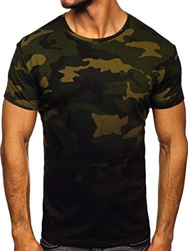 BOLF Herren T-Shirt mit Aufdruck Kurzarm Rundhalsausschnitt Top Kurzarmshirt Tee Rundhals Print Motiv Sportswear Crew Neck Logo Sport J.Style S808 Khaki XL [3C3]
