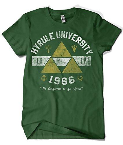 Camisetas La Colmena 682-Hyrule Univeristy (Arinesart) (S, Verde Botella)