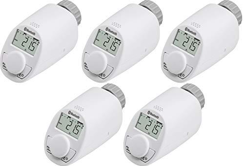 5er Set Eqiva Bluetooth® Smart Heizkörperthermostat, Heizungsregler, Heizkörper Thermostatkopf, Heizkörperregler, Thermostat