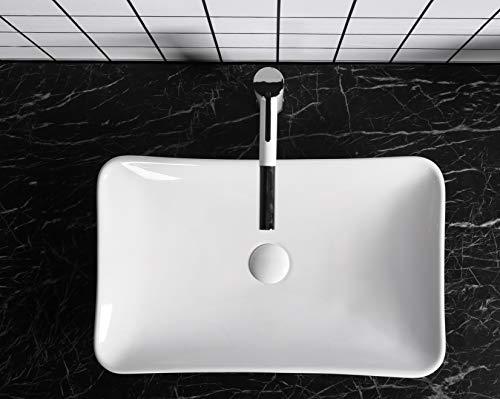 Design Waschbecken Aufsatzwaschbecken Handwaschbecken Waschtisch 590x390x95mm in weiß, mit Lotus Effekt - Waschschale (Nova) von Art-of-Baan®