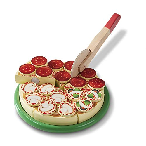 Melissa & Doug- Pizza Party-Set di Cibo da Gioco in Legno, con linguette autoadesive, 54 + Pezzi, Ottimo Regalo Ragazzi, Ideale per Bambini di 3, 4 e 5 Anni, Multicolore, 96040