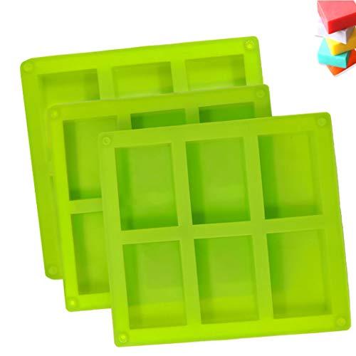 ETHEL Silikon Seife Form, 3 Stück 6Hohlräume Rechteckige Silikonseifenform,Seife DIY Formen,für Handgemachte Silikonseifenform,Schokolade,Biscuit Hausgemachte Seifenform (Grün)