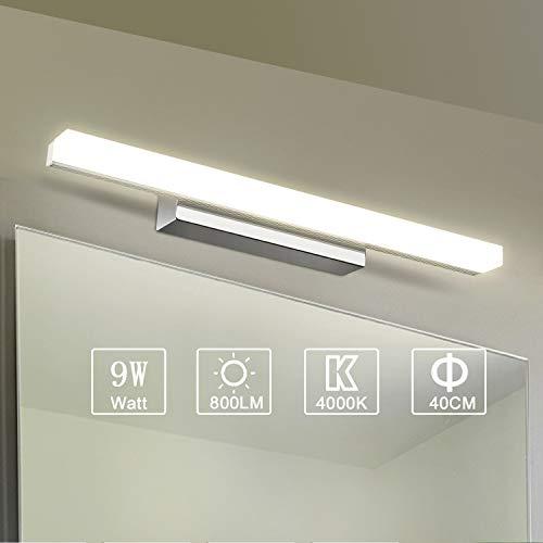 Yafido LED Spiegelleuchte Badleuchte Badlampe Spiegellampe 40CM Neutralweiß Wandleuchte badezimmer lampe 230V 9W 4000K Schrankleuchte 800Lumen Nicht-dimmbar