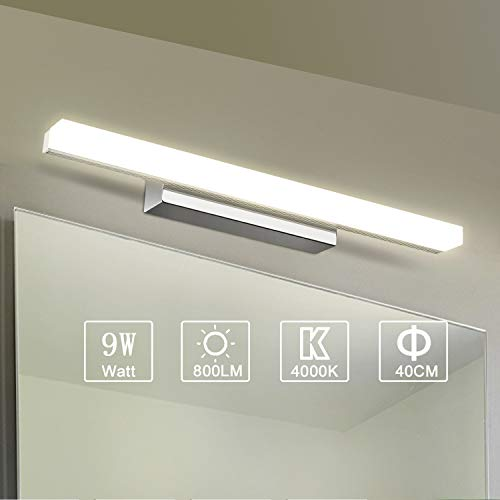 Yafido Aplique Espejo Baño Interior LED 9W luz Baño Lá