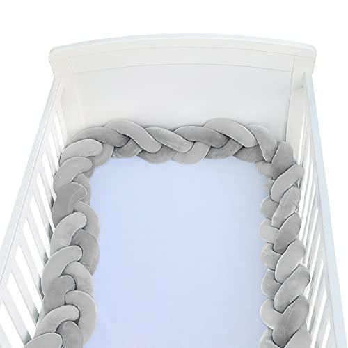 Hbsite Baby Krippe Stoßfänger geknotet geflochten Bettumrandung Babybett Länge 78.7 inch 2m Baby Nestchen Bettumrandung Weben Geflochtene Stoßfänger Dekoration für Krippe Kinderbett (Grau)