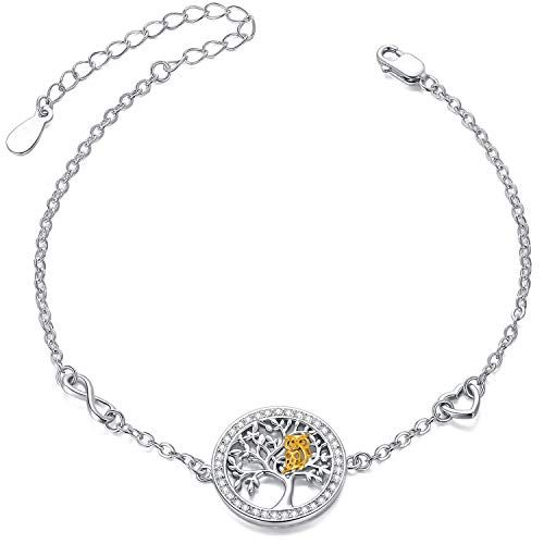 Baum des Lebens Eule Armband 925 Sterling Silber Cut Eule verstellbare Armreif Schmuck für Frauen Mama Mädchen mit Geschenkbox